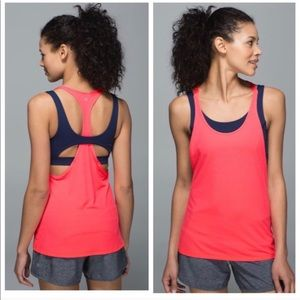 Lululemon All Sport hot pink navy bra tank top